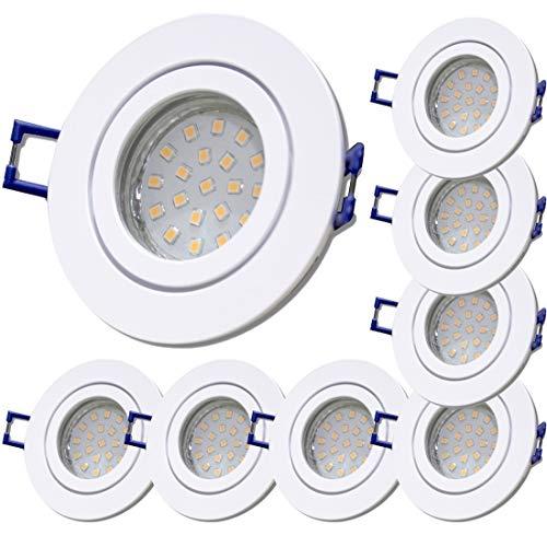 LED Bad Einbaustrahler 230V inkl. 8 x 5.5W SMD LM Step Dimmbar Farbe Weiß IP44 Einbauleuchten Neptun Rund 3000K
