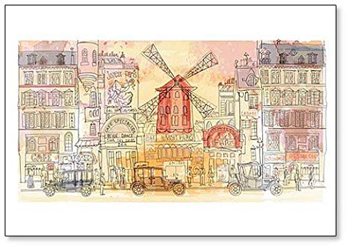 Paris In Watercolor, Moulin Rouge Illustratie Classic Koelkast Magneet
