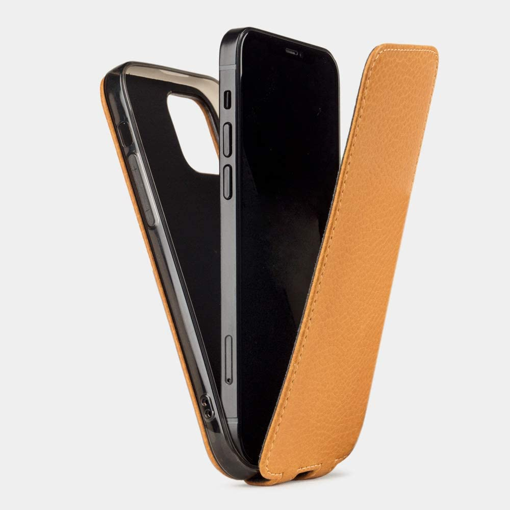 MARCEL ROBERT - Leather flip case for The iPhone 12 PRO MAX - Patented Model - Made in France - [ Gold ]