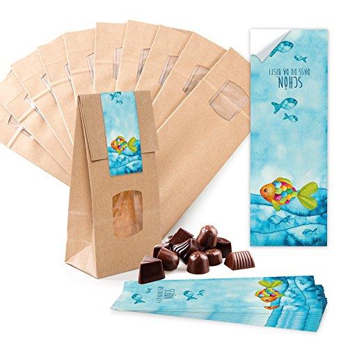 10 kleine braune Papier-Tüten MIT FENSTER und Pergamin-Einlage 10 x 6,5 x 27,5 cm + 10 blau türkise Regenbogen-Fisch SCHÖN DASS DU DA BIST Aufkleber 5 x 15 cm Verpackung give-away
