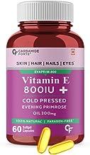 Carbamide Forte Vitamin E 800 IU Oil + Evening Primrose Oil Capsules for Face & Hair- 60 Capsules