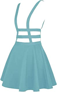 EXCHIC Women's Braces Skirt Solid A-Line Suspender Mini Skirt