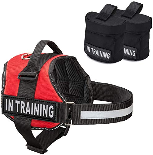Service Dog In Training Vest With Hook and Loop Straps and Detachable Backpacks - Animal Vests From XXS to XXL - Service Dog Harness with Reflective Patch & Comfortable Mesh Design (Red, XXL)