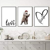 クマのカップルの愛は壁の芸術のキャンバスのポスターの単純さの家族の印刷大理石の現代家の装飾的な絵の絵画/ 50x70cmx3Pcsを引用します-フレームなし
