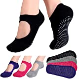 Hicdaw 4Pairs Yoga Socks for Women Non Slip Skid Socks for Pilates, Ballet, Dance, Barefoot Workout (4 Pairs color A)