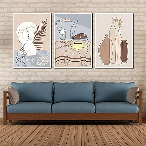 Bohemian Poster Abstract Cartoon Kitchen Wall Art Decor Line Vase Teapot Sculpture Canvas Painting for Living Room Interior-40x60cmx3 No Framed