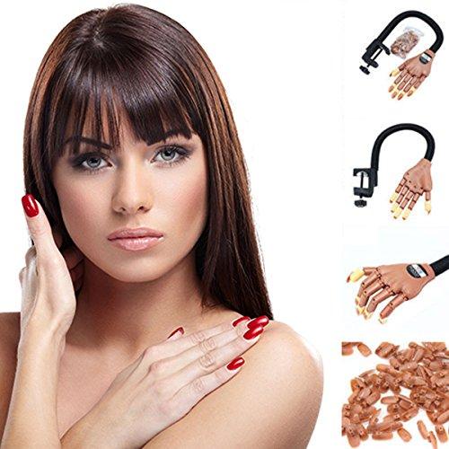 Nagelkunsttraining Hand Einstellbare Lebensgroße Praxis Lernen Modell Trainer Make-Up-Tool Gefälschte Finger 100 STÜCKE Nagelspitzen