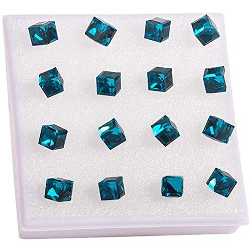 Hellery 8 Pares de Pendientes de Cubo de Cristal para Mujer, Joyería con Tachuelas de Piedra de Nacimiento, Presente - Azul Oscuro