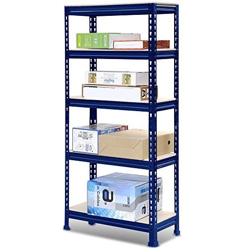 FunkyBuys deluxe 5piani, colore: Blu acciaio Heavy Duty 5-shelf scaffalatura, capacità 875kg,: 70(lunghezza) x 30(larghezza) x 150cm (altezza)