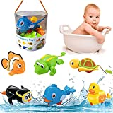 Liberty Imports 6 Pack - Swimming Wind Up Sea Animals in The Bathtub Windup Motorized Water Toy for Children Kids Toddlers Bath Time Fun (Turtle, Fish, Duck, Dolphin, Penguin, Alligator)