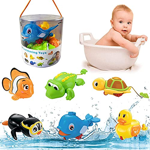 liberty imports baby bath toys Liberty Imports 6 Pack - Swimming Wind Up Sea Animals in The Bathtub Windup Motorized Water Toy for Children Kids Toddlers Bath Time Fun (Turtle, Fish, Duck, Dolphin, Penguin, Alligator)