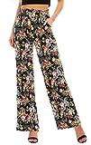 Urban GoCo Mujer Pantalón Palazzo de Pierna Ancha Casual Estampado Floral Baggy Pantalones (Large, 5)