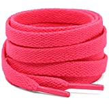 DELELE 2 Pair 23.62'Flat Shoe laces 5/16' Wide Shoelaces for Athletic Running Sneakers Shoes Boot Strings Fluorescent Pink