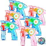 6 Pcs Bubble Gun Shooter LED Light up(no Batteries Needed), Wind up Operated Bubbles Blaster Blower with Bottle Solutions, Bubble Blowing Toy kit for kid Boy and Girl Outdoor Summer Game Party Favor