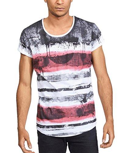 trueprodigy Casual Herren Marken T-Shirt mit Streifen Oberteil Cool Stylisch Rundhals Kurzarm Slim Fit Shirt Männer mit Streifen, Farben:Rot, Größe:XXL