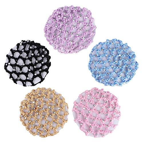 Frcolor Cheveux Snood Net, 5Pcs Crochet Perle À La Main Perle Coiffure De Couverture De Chignon Pour La Danse (Couleur Mixte)