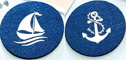 GILDE - 42246 - Untersetzer, rund, Filz, 2er Set mit maritimen Motiven, Durchmesser 10cm, blau, Bedruckt