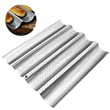 Nonstick Coating Perforated Baguette Bread Pans Baguette Pan Mold Bread Wave Baking Tray for French Bread Baking Professional Kitchen Tool Bakers Dough Making Mold4-slot Baguette)