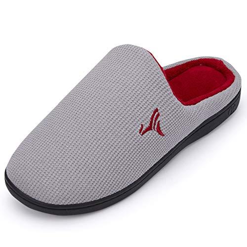 VIFUUR Hombre Zapatillas de casa Espuma de Memoria de Alta Densidad Cálido Interior Lana al Aire Libre Forro de Felpa Suela Antideslizante Zapatos Gris/Rojo 40/41