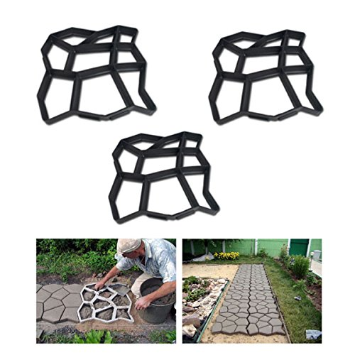 HG® 3X D.I.Y Pflasterform Gehweg Betonpflaster Gießform Garten Schablone mit 9 Kammer 43 x 43 x 4cm