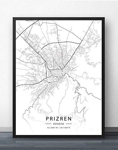 ZWXDMY Leinwand Bild,Kosovo Prizren Stadtplan Schwarze Und Weiße Minimalistische Text Abstrakten Drucken Wandbild Leinwand Poster Malerei Studie Office Home Einrichtung, 20 × 30 cm