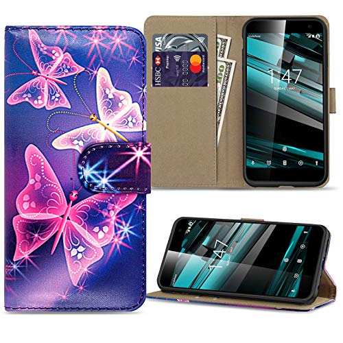 Pro_Gadgets_LTD For Vodafone Smart Platinum 7, Leather Wallet Flip Folio Case Cover with Magnetic Closure and Card Slots, (Butterfly On Blue)