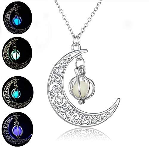 Romote Glow in The Dark PendantFor Frauen Silber überzogene Kette Lange Nacht MoonWomen Mode