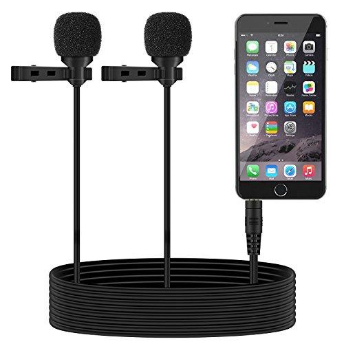 Tonor - Mini micrófono de doble cabeza para la solapa, condensador y omnidireccional para smartphones Android, iPhone, iPad, Tablets
