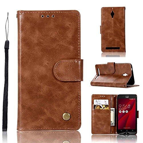 Guran® PU Ledertasche Case für ASUS ZenFone Go ZC500TG (5.0zoll) Smartphone Flip Cover Wallet & Stent- Funktions Retro Mode Muster Etui - Braun