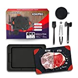 Kokipro Fast Defrosting Tray for Frozen Meat - 3mm Thick Large Size Food-Grade Aluminum Thawing Plate with Drip Tray, Tongs, Meat Tenderizer, Silicone Sponge, and Basting Brush - Non-Slip Corners