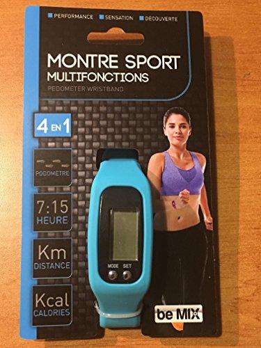 Montre Sport Multifonctions : Podomètre + Distance + Calories + Heure - Couleur Bleue - Compte Le Nombre de Pas, la Distance parcourue, Les Calories et en + Donne l'heure