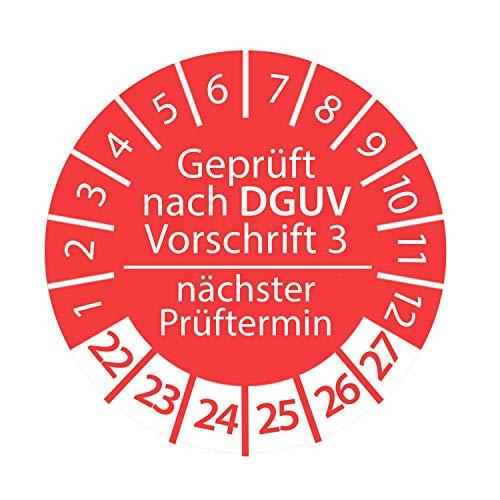 Prüfplakette DGUV Vorschrift 3 2022-2027 nächster Prüftermin 3cm Rund Geprüft nach DGUV Rot Anzahl 50 Stück
