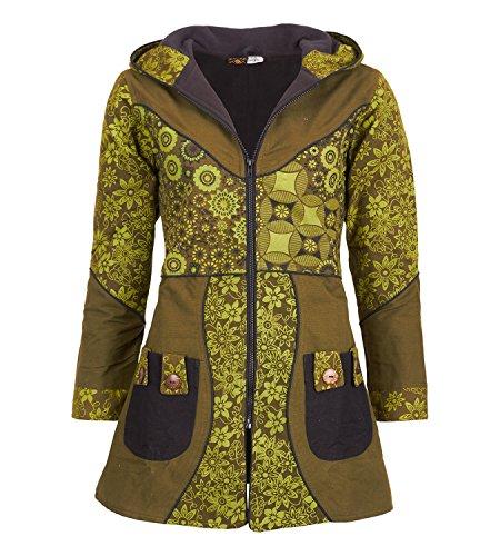 KUNST UND MAGIE Damenmantel mit Kapuze Blumenmuster Jacke Baumwolle, Größe Damen:46, Farbe:Army Green