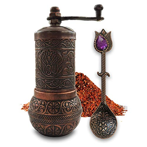 """Copper Pepper & Turkish Coffee Grinder Mill - 4.2"""" Inch/with Antique Look Casting Carving Spice Spoon - Spice Pepper and Turkish Coffee Grinder - Best Gift Idea6"""