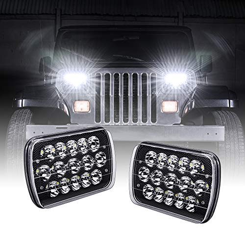 7x6 5x7 LED Headlights H6054 H5054 [Black Finish] [45W] [H4 Plug & Play] [Low/High Beam: 6/15 LEDs] - Compatible with JEEP Wrangler YJ Cherokee XJ Head Light For H6054LL 69822 6052 6053