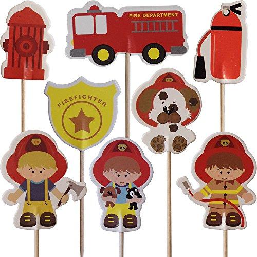 Pompier Petit Gâteau Pics Toppers (Paquet de 24)