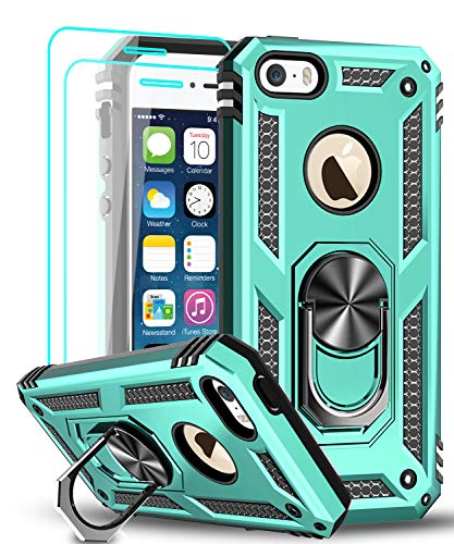 LeYi Compatible for iPhone se Case (2016), iPhone 5s Case, iPhone 5 Case, Military-Grade Armor Full-Body Phone Cover Case with 360 Degree Rotating Holder Kickstand for iPhone 5/5s/se, Mint