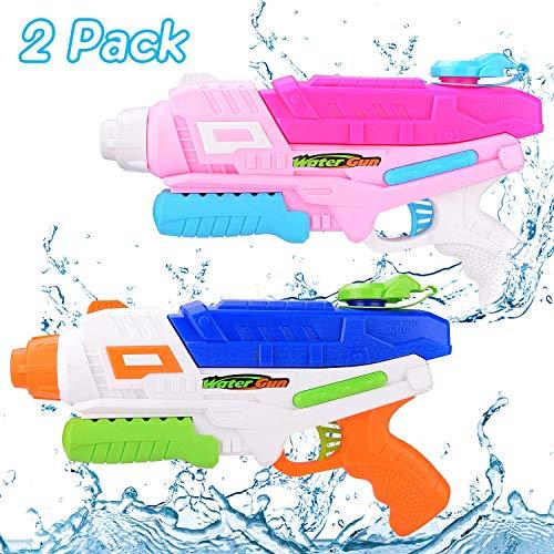 EPCHOO Wasserpistole, 2er Pack Wasserblaster mit blau und Rosa, 1000ML Groß Water Blaster Water Gun Spielzeug mit 10 Meter Reichweite für Badestrand Sommer Pool Wasserschütze Wasserspielzeug
