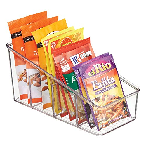 mDesign Large Plastic Food Packet Organizer Caddy - Storage Station for Kitchen, Pantry, Cabinet, Countertop - Holds Spice Pouches, Dressing Mixes, Hot Chocolate, Rice, Taco Seasoning - Clear