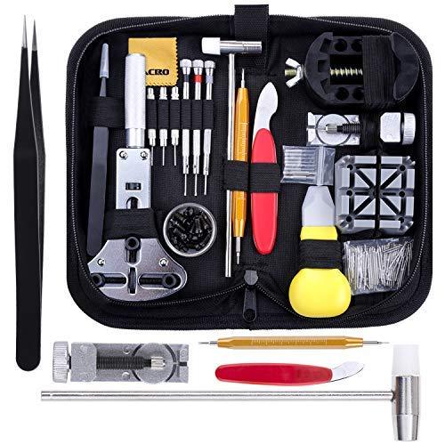 Zacro 151PCS Uhrmacherwerkzeug Set TLG Uhrenwerkzeug Uhrarmband Reparatur Werkzeug Einstellbar Gehäuseöffner Stiftausdrücker Schraubendreher Armband (151 pcs)