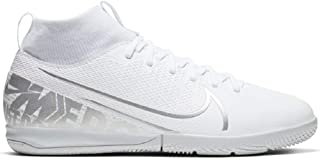 Nike Jr. Mercurial Superfly 7 Academy IC Kids` Indoor/Court Soccer Shoe- White/Silver (3Y)