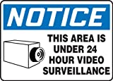 Accuform MASE806VP Plastic Safety Sign, Legend'Notice This Area is Under 24 Hour Video Surveillance' with Graphic, 7' Length x 10' Width x 0.055' Thickness, Blue/Black on White