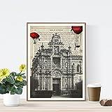 Nacnic Lámina Ciudad de Jerez. Estilo Vintage. Ilustración, fotografía y Collage con la Historia DE Jerez DE LA Frontera. Poster tamaño A4 Impreso en Papel