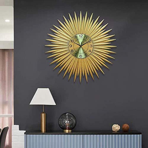 HYY-YY Nordische runde Sonne-Form moderne Wanduhr Wohnzimmer Schlafzimmer Restaurant Home Mute Kunst Dekoration Wanduhr Gold Mute Nicht tickend 72 x 72 cm exquisit
