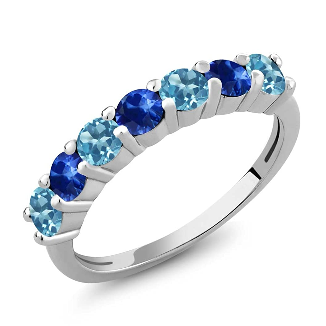 Gem Stone King 925 Sterling Silver Swiss Blue Topaz and Blue Sapphire Anniversary Ring 1.52 Ctw Round Gemstone Birthstone (Available 5,6,7,8,9) xookmfbopes83