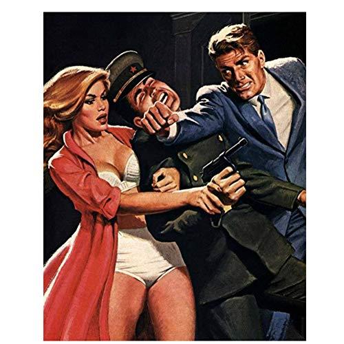 Chica Propaganda Soviética URSS Pinturas sobre Lienzo Guerra Fría de los Estados Unidos Vintage Wall Poster Sticker Decoración para el hogar Regalo - 60X90cm sin Marco