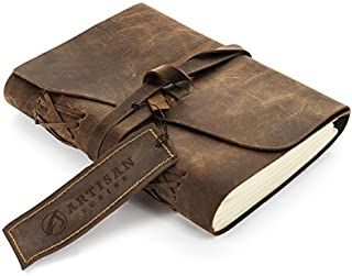 Artisan Scribe Handmade Leather Lined Journal Notebook - Genuine Leather Bound Daily Notepad for Men & Women Lined Paper 240 Pages