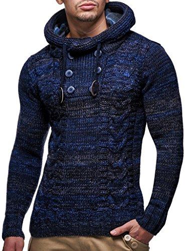 Leif Nelson Herren Strick-Pullover Strick-Pulli mit Kapuze Moderner Winter Woll-Pullover Langarm-Sweatshirt Slim Fit