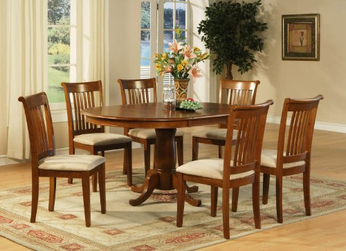 5 Pc Dining room set for 4-Oval Dining Table with Leaf and 4 Dining Chairs