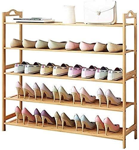 Estante de zapatos Zapatero zapatero del zapato atormenta 5 6 plantas con listones de madera Organizador for Soportes estante de madera for el Corredor de la sala dormitorio pueden contener hasta 30 p